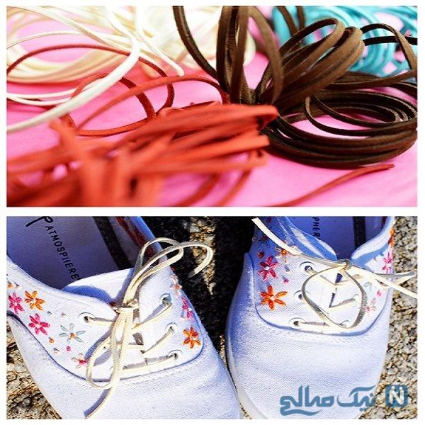 آموزش گلدوزی روی کفش