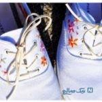 آموزش گلدوزی کفش های ساده+تصاویر