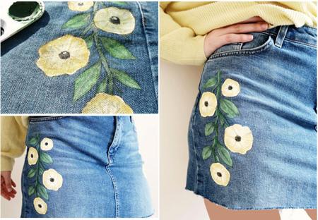 نقاشی روی دامن جین