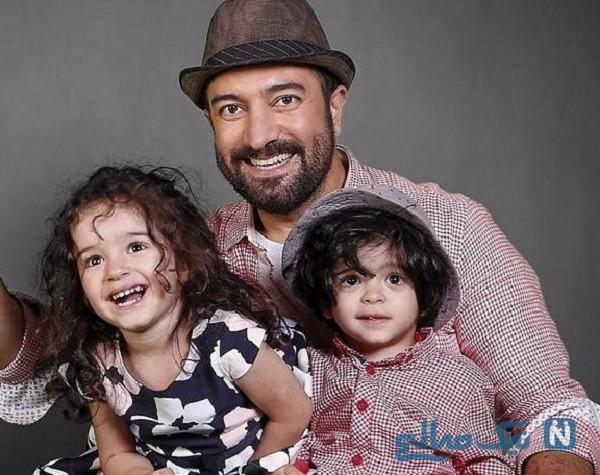 گردش و تفریح مجید صالحی با فرزندان دوقلویش + تصاویر