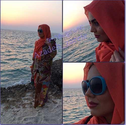 تعطیلات تابستانی آزاده زارعی در کیش + تصاویر