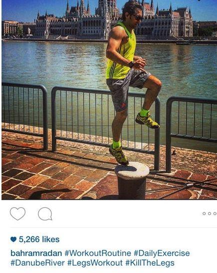ورزش کردن بهرام رادان در کنار رود دانوب+عکس