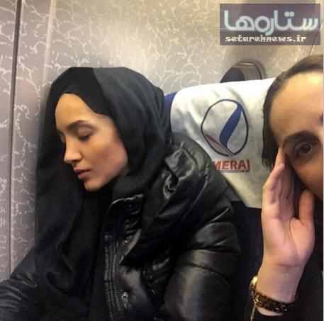 خواب خاطره اسدی در هواپیما!+عکس