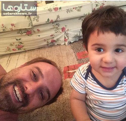 قیافه پسر برزو ارجمند بعد از اصلاح سر توسط پدر + عکس