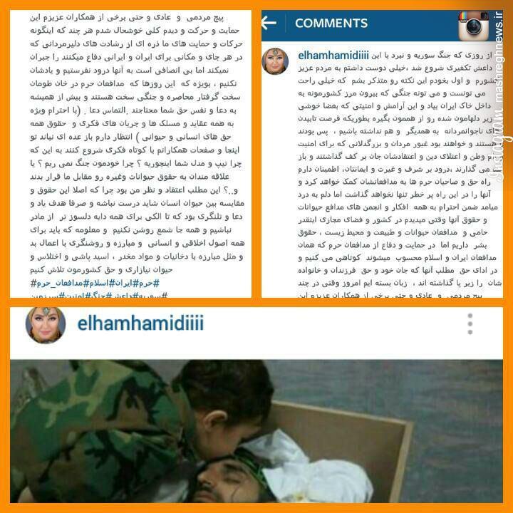 دفاع الهام حمیدی از مدافعان حرم!+عکس
