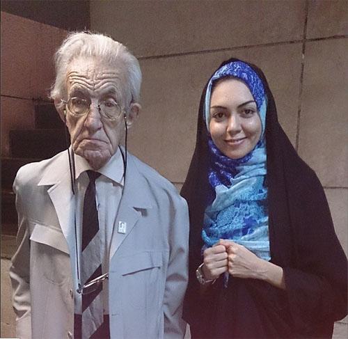 آزاده نامداری در کنار پیرترین بازیگر مرد سینمای ایران + عکس