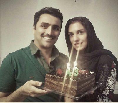 جشن تولد ۴۳ سالگی امین زندگانی در کنار همسرش + عکس
