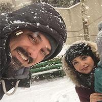 عکس های زیبای برزو ارجمند و همسرش پارمیس در روزهای برفی