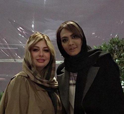 نیوشا ضیغمی و همسرش در جشن لاکچری دهمین قهرمانی شهربانو منصوریان +تصاویر