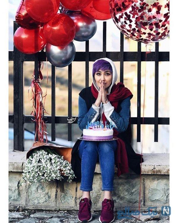 عکس های جشن تولد مریم معصومی با رنگ موی جدید و استایلی زیبا