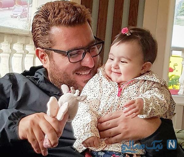 محسن کیایی و دخترش به وقت تولد دو سالگی رز در قرنطینه