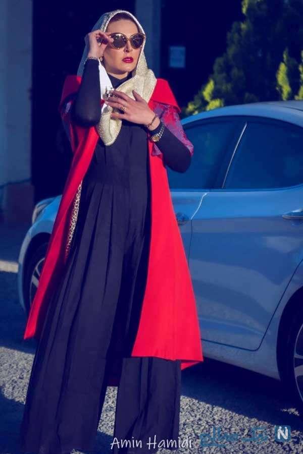 آزیتا ترکاشوند در اسپینجر با لباس عروس در کنار پارسا شیراز