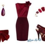 زیباترین ست لباس شب زنانه با رنگ عنابی