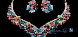 مدل سرویس های جواهر با نگین های رنگی و زیبا