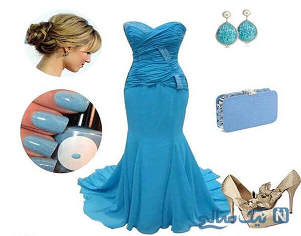 دیزاین شیک از لباس نامزدی آبی