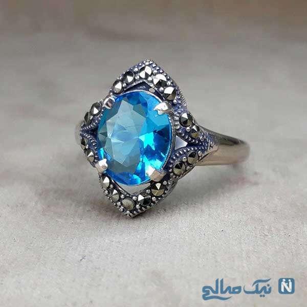 مدل انگشتر توپاز آبی خوشگل