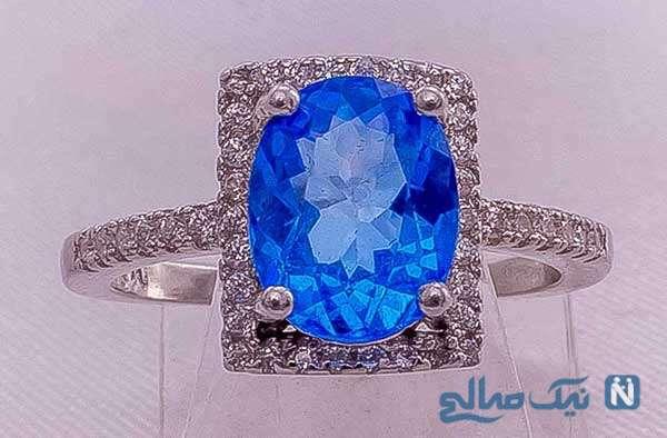 زیباترین مدل انگشتر توپاز آبی