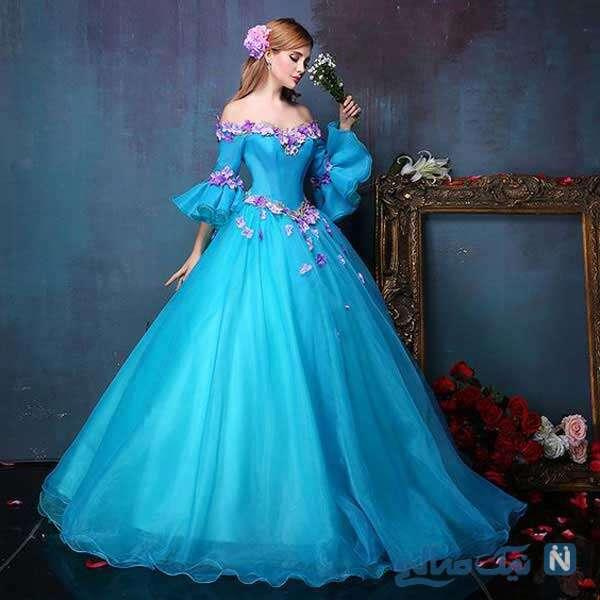لباس نامزدی پرنسسی آبی