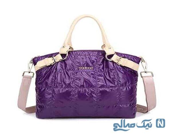 مدل کیف چرم زنانه بنفش