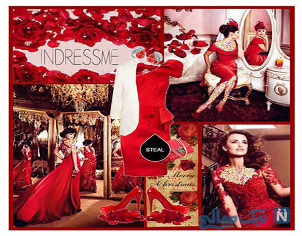 ست کردن لباس شب به رنگ قرمز