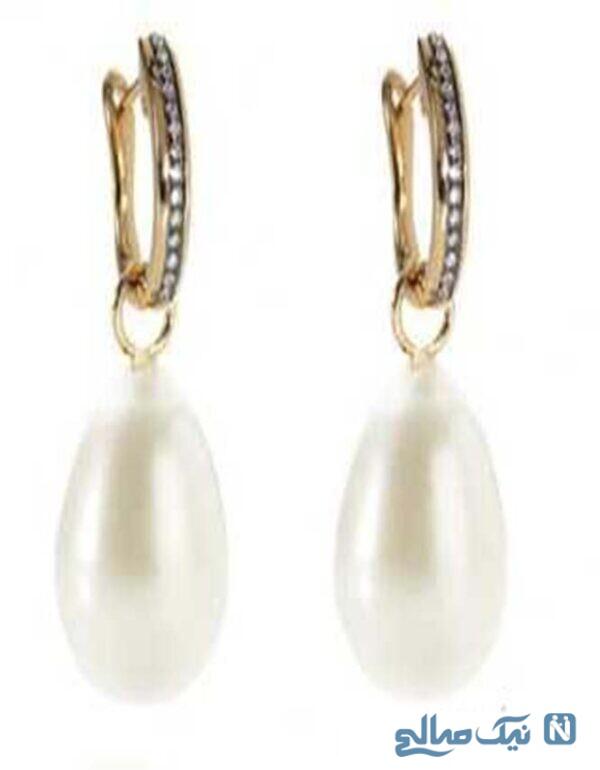 گوشواره طلا و الماس با آویز مروارید