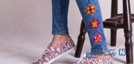 نقش بسیار زیبای سوزندوزی بلوچستان بر شلوارهای دختران ایران