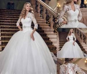 مدل های بسیار زیبا از لباس عروس آستین دار اروپایی
