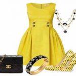 اصول ست کردن لباس مجلسی زرد