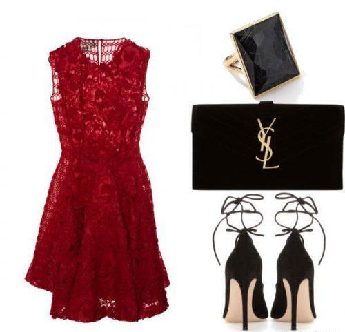 ست لباس مجلسی قرمز و مشکی