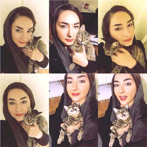 سلفی های هانیه توسلی و گربه اش نغمه خانم +عکس
