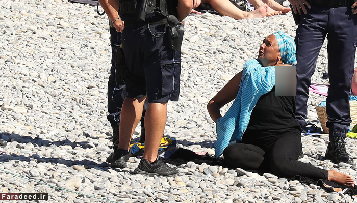 پلیس فرانسه زنی را وادار به درآوردن مایوی اسلامی کرد !!+عکس