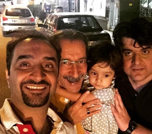 سلفی نیما کرمی با پدر و دخترش + عکس