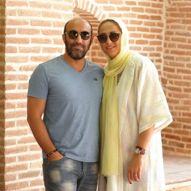 محسن تنابنده درکنار همسرش با تیپی جدید + عکس