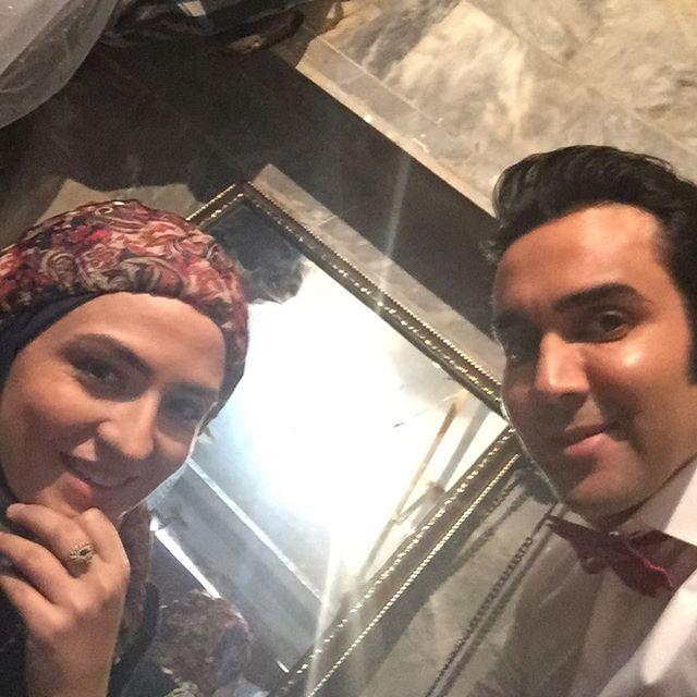 سلفی گلاره عباسی با بازیگر معروف در شب عروسی! + عکس