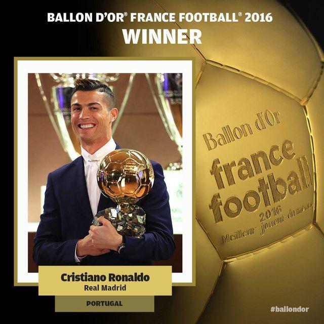 توپ طلای ۲۰۱۶ برای چهارمینبار به کریستیانو رونالدو رسید