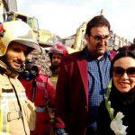 حرکت زیبای این خانم بازیگر معروف در محل حادثه پلاسکو