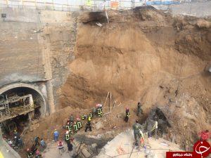 فرو ریختن تونل مترو در قم