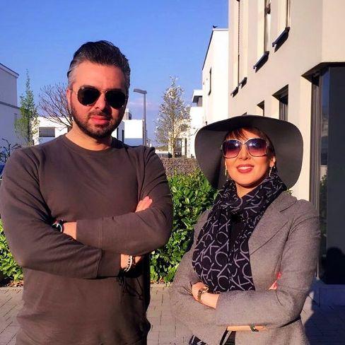 لیلا بلوکات در کنار محمد یوسفی مجری شبکه های ماهواره ای در آلمان