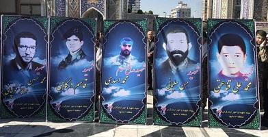 محمد باقر قالیباف در مراسم تشییع شهدا در مشهد