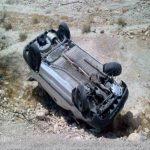 واژگونی عجیب خودروی سارقان پسته