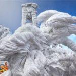 همکاری طوفان و برف در خلق مجسمه