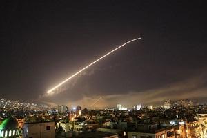 ساختمان های تخریب شده در اثر حمله موشکی به سوریه