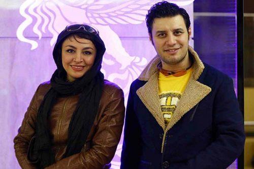 جواد عزتی به همراه همسرش