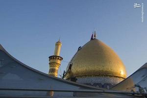تصاویری از مراسم شستشوی گنبد حرم حضرت عباس