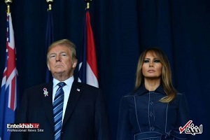 دونالد ترامپ و همسرش در مراسم یادبود قربانیان ۱۱ سپتامبر