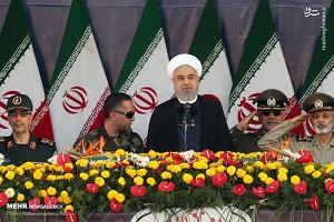 سخنرانی روحانی در مراسم رژه نیروهای مسلح