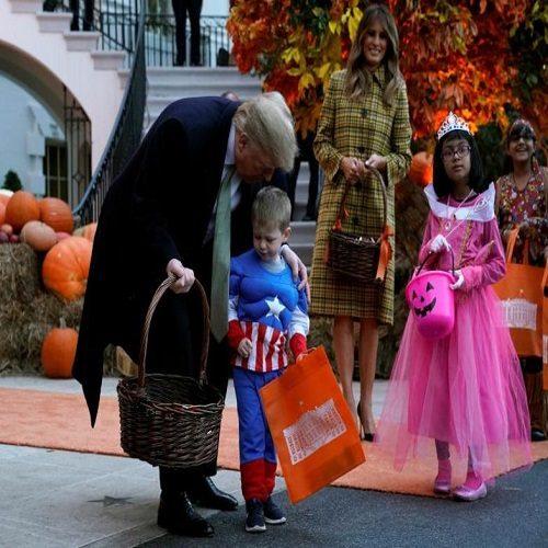 ترامپ در جشن هالووین در کاخ سفید بچه ها را ترساند