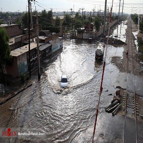 آبگرفتگی معابر در اهواز بعد از بارش شدید باران