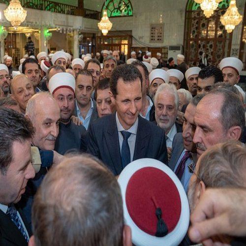 تصاویری از حضور بشار اسد در جشن میلاد پیامبر اکرم (ص)