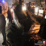 تصاویری وحشتناک از تصادف خودرو ۲۰۶ با درخت در تهران